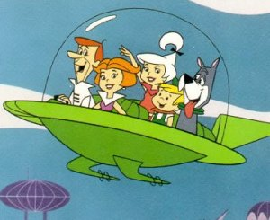 The Jetsons: a dystopian future where the One Percent live high above a ruined planet, and all jobs are performed by anthropomorphic robots.
