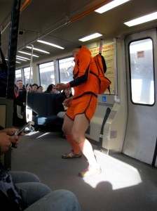 A particularly unique subway dancer.  Image Credit:  Kyle Taylor.